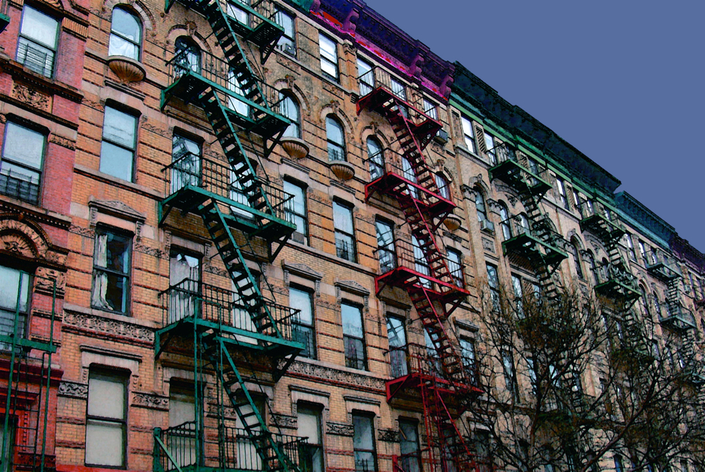 Rainbow Fire Escapes (New York), digitally enhanced photograph, 2009