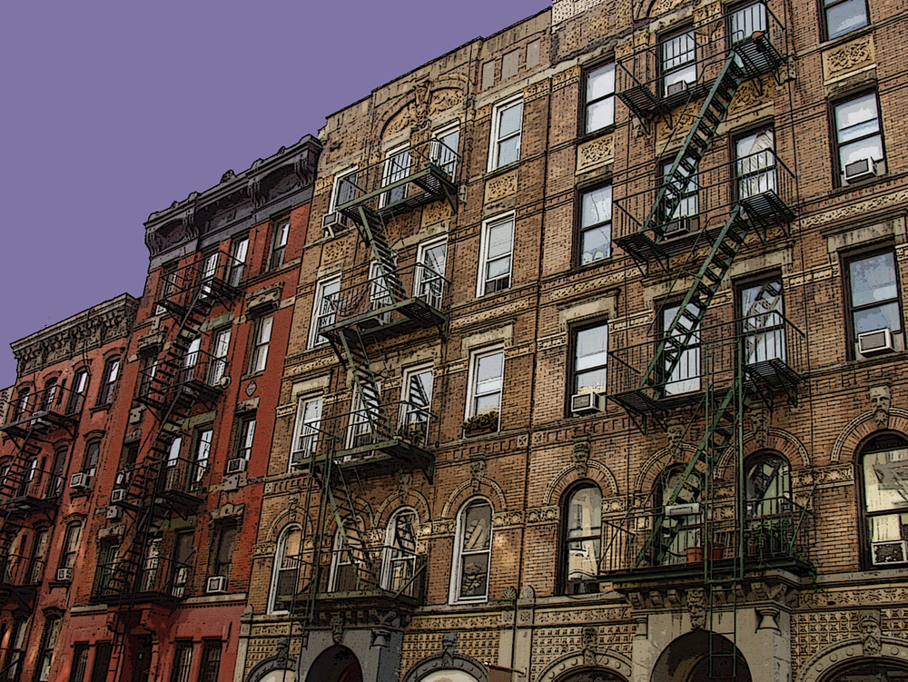 East Village Fire Escapes (New York), digitally enhanced photograph, 2009