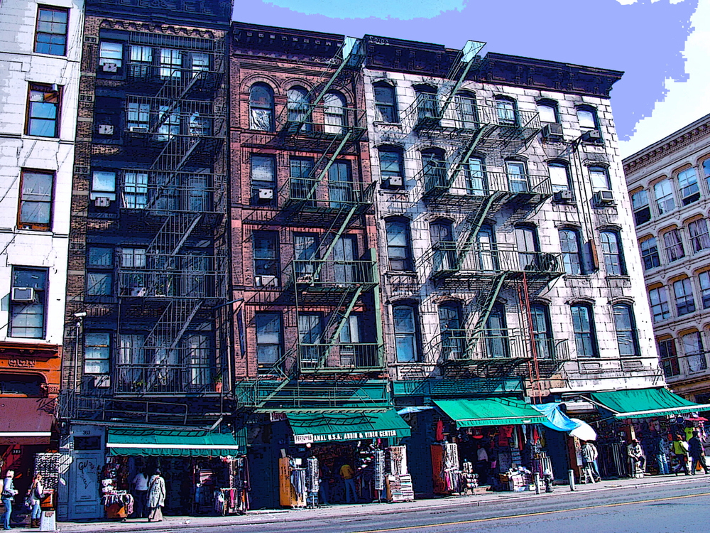 Canal Street Merchants (New York), digitally enhanced photograph, 2009