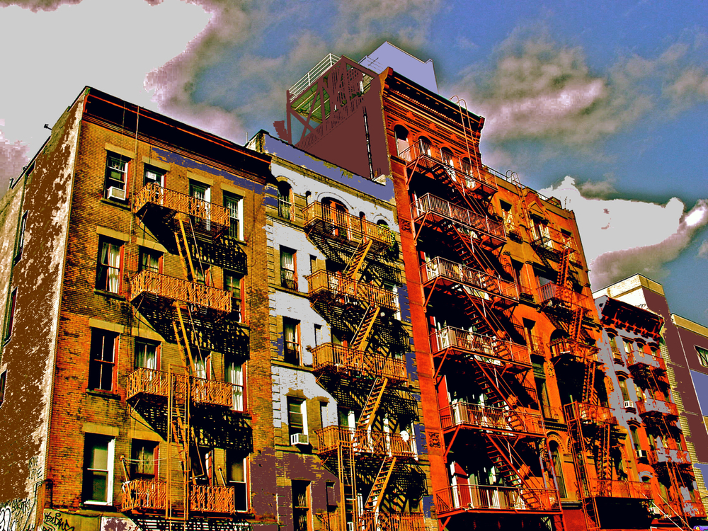 Fire Escapes and Clouds (New York), digitally enhanced photograph, 2009