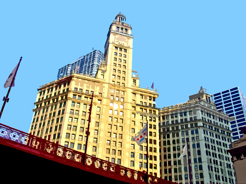 Wrigley Building, digitally enhanced photograph, 2011
