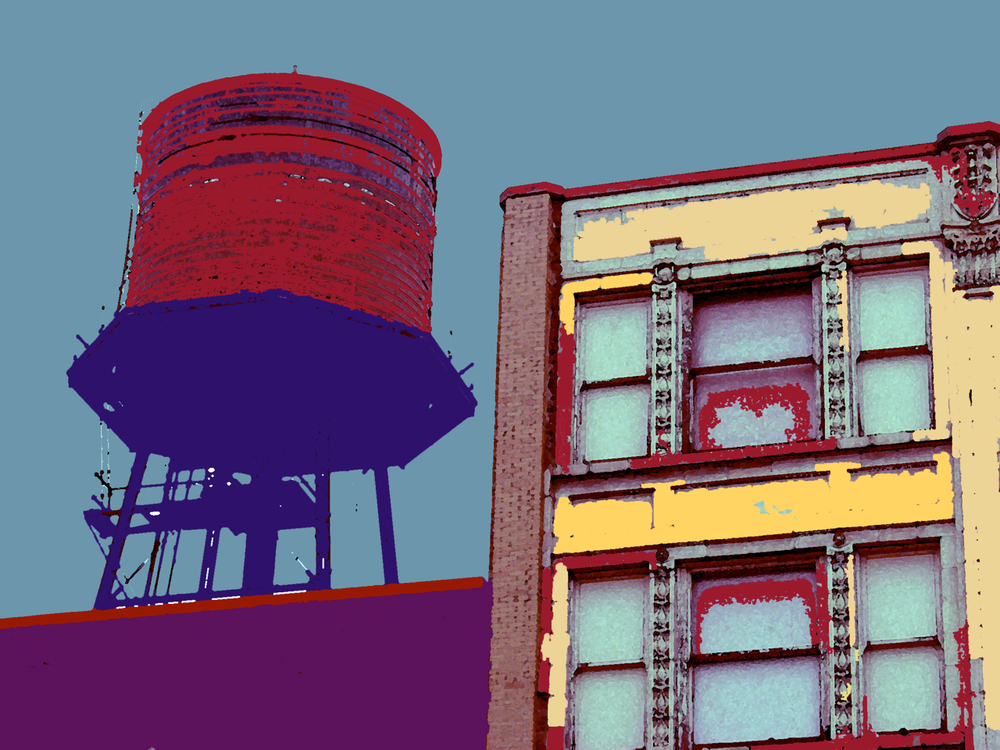 oldblatt's Water Tower, digitally enhanced photograph, 2003