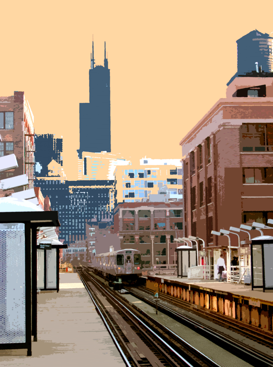 Chicago Ave L Stop, digitally enhanced photograph, 2006