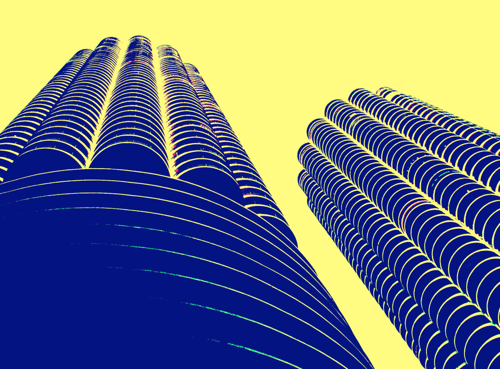 Marina Towers, digitally enhanced photograph, 2002