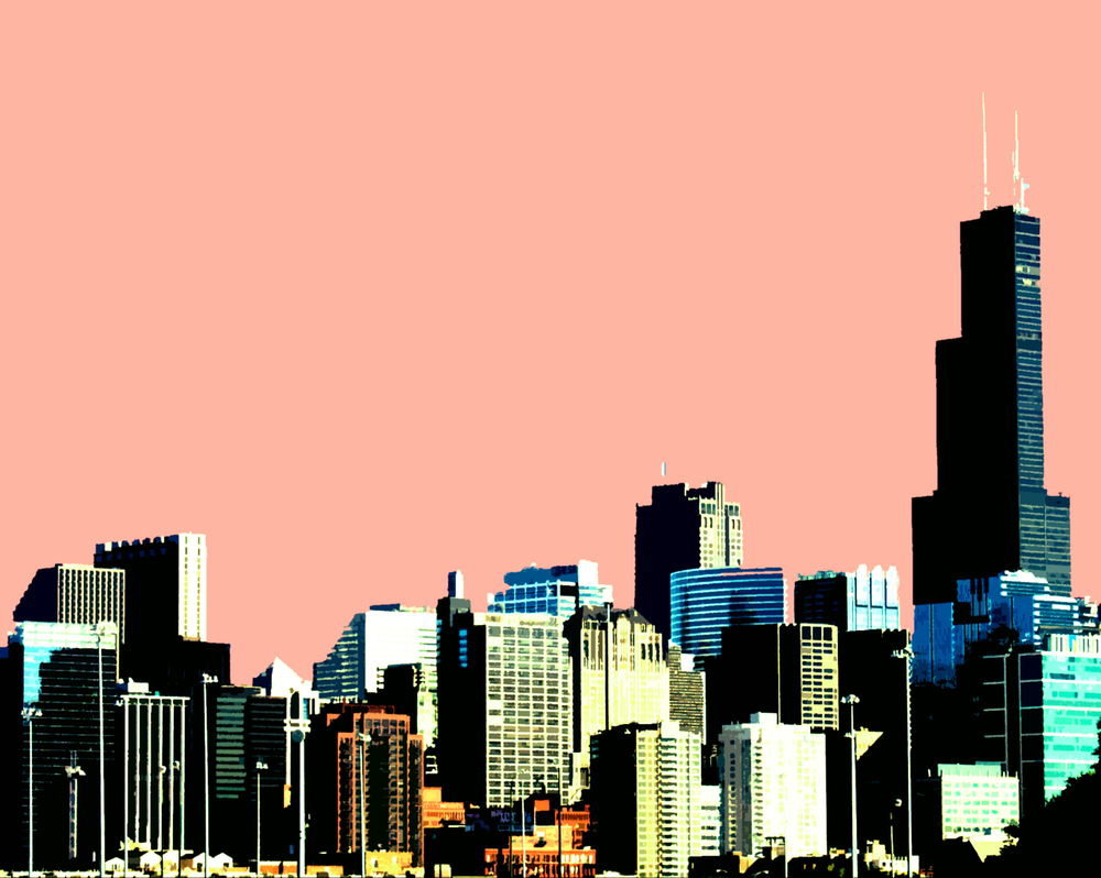 Chicago Skyline (salmon sky), digitally enhanced photograph, 2005