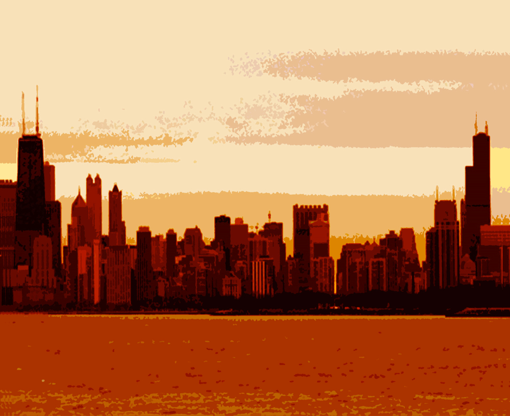 Chicago Skyline Sunset, digitally enhanced photograph, 2002