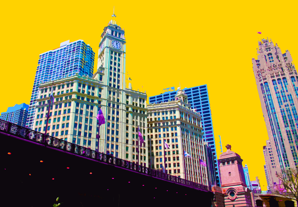 Wrigley Building, digitally enhanced photograph, 2014