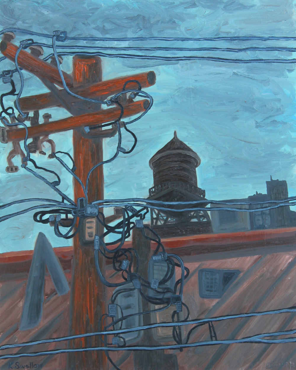 River North Electricity, oil on panel, 30x24, 2014, AVAILABLE