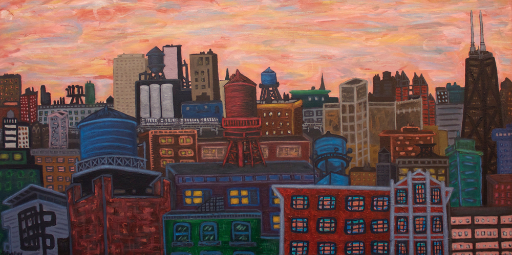 West Loop Cityscape, acrylic on canvas, 24x48, 2012, SOLD (custom commission)