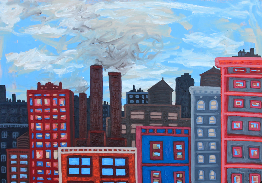 Factories and Buildings, oil on panel, 27x39, 2016, AVAILABLE