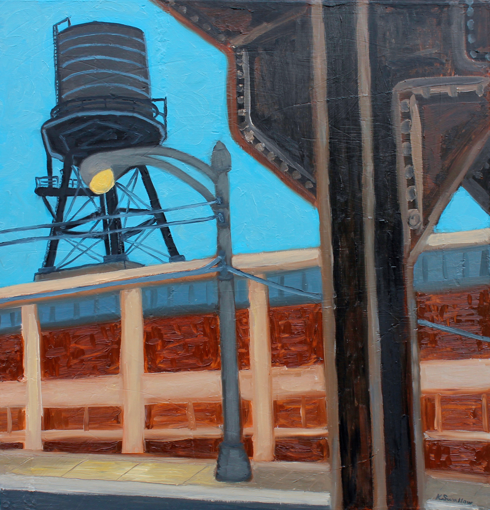 Dusk at Kinzie and Peoria, oil on panel, 24x25, 2013, AVAILABLE