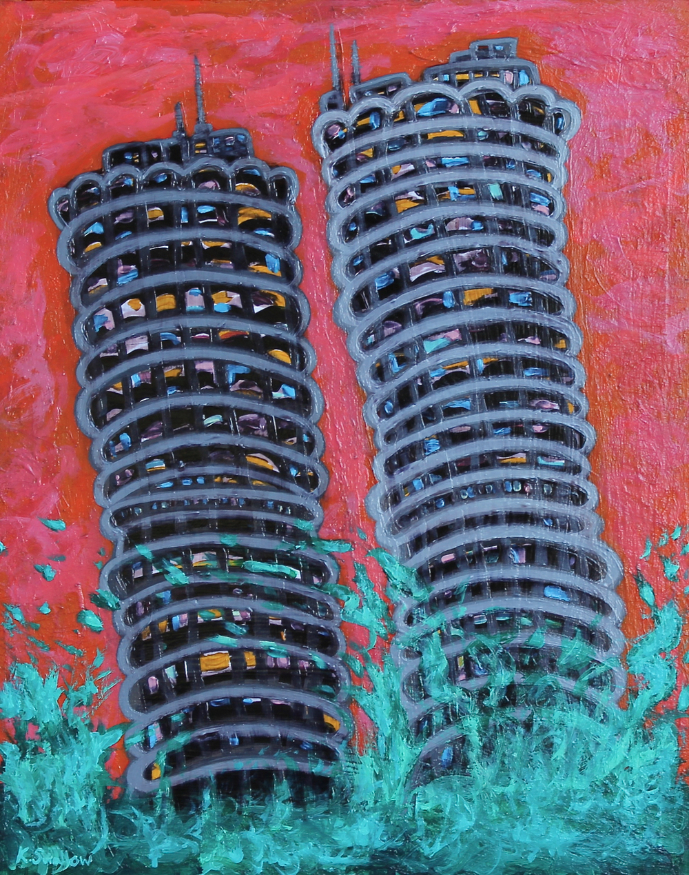 Marina City Splash, acrylic on panel, 30x24, 2013, SOLD