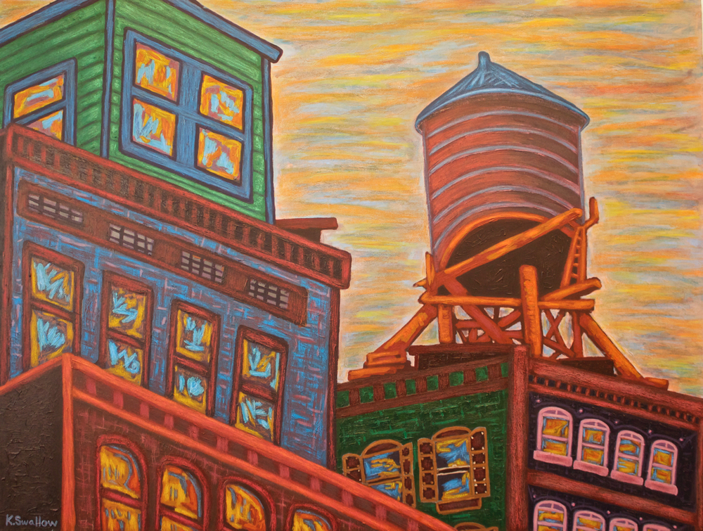 NoLita Water Tank (NYC), acrylic on canvas, 36x48, 2012, SOLD