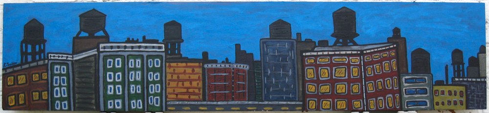 South Loop Watertanks, acrylic on wood, 13x58, 2008, SOLD