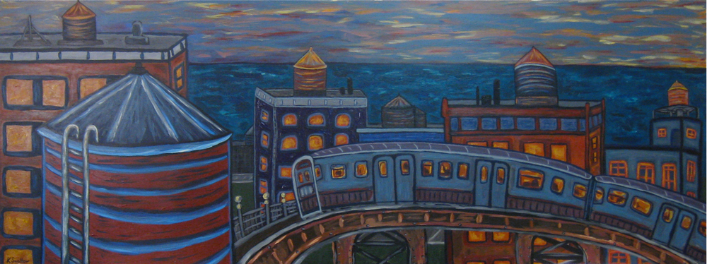 Sunset on the Brown Line, acrylic on wood panel, 30x80, 2009, SOLD