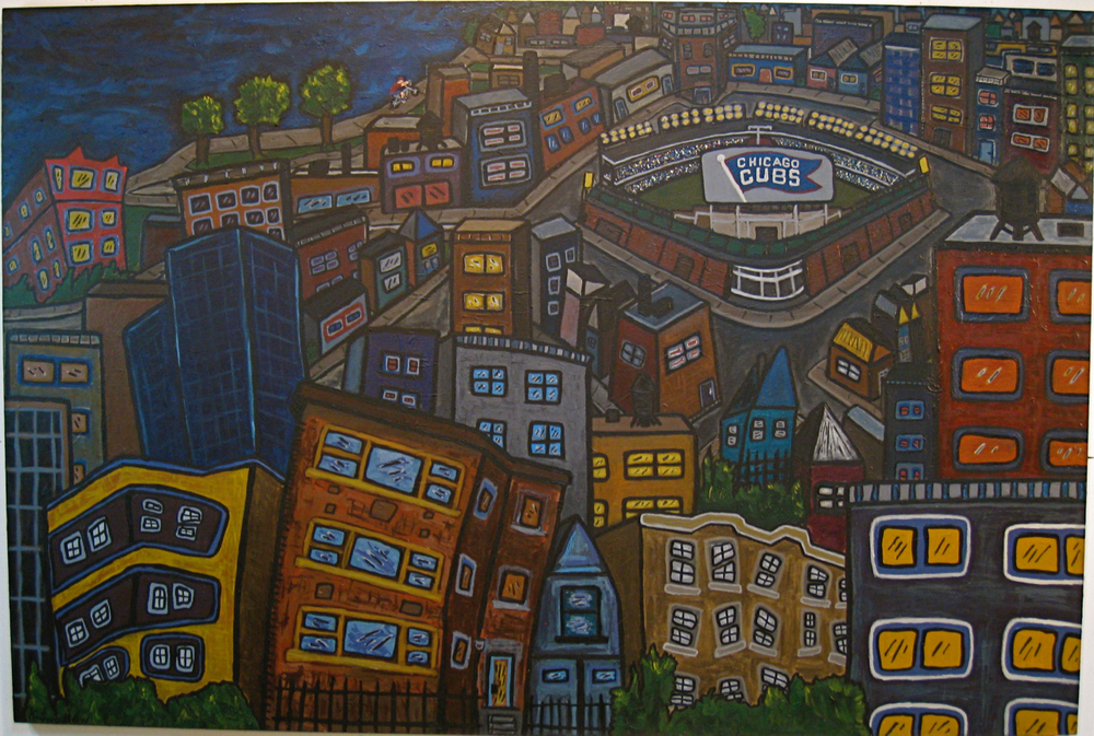 Wrigleyville, acrylic on canvas, 48x72, 2007, SOLD (custom commissioned)