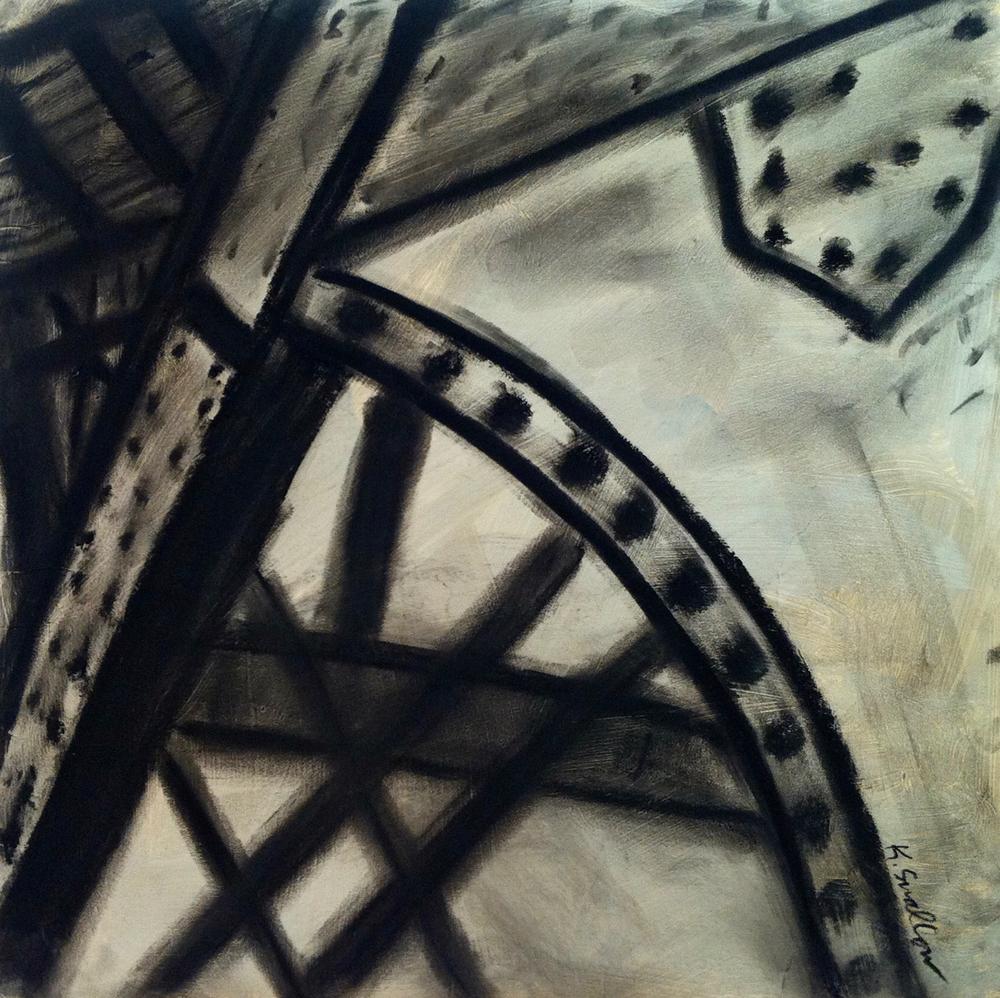 Steel Bridge #2, acrylic and charcoal on record album cover, 12x12, 2012, AVAILABLE