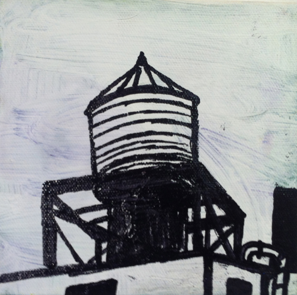 Chinatown Perch, acrylic and oil paint marker on canvas, 6x6, 2012, SOLD