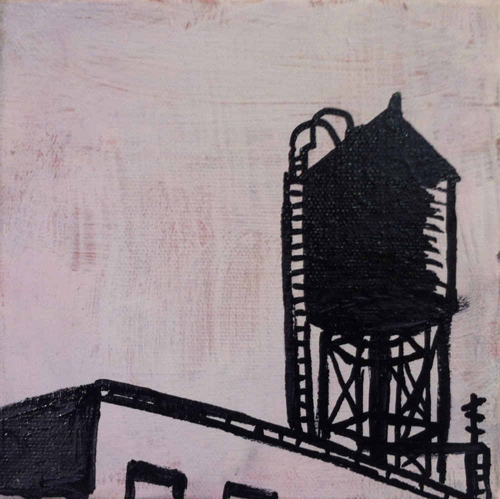 Houston St. NYC, acrylic and oil paint marker on canvas, 6x6, 2012, SOLD