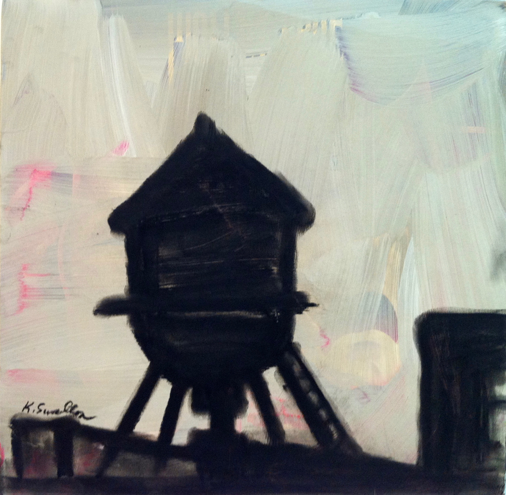 West Loop Silouette, acrylic and charcoal on record album cover, 12x12, 2012, AVAILABLE