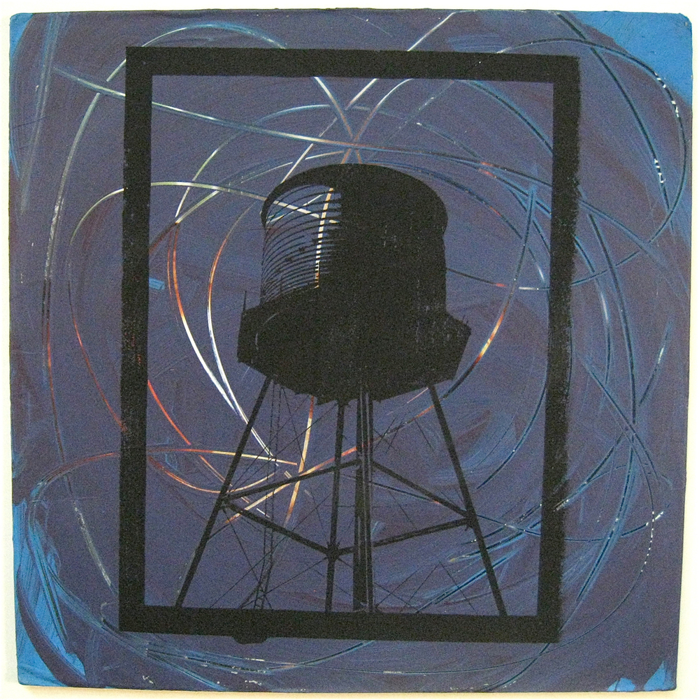 Tornado Tank, screen print on record album, 12x12, 2009, SOLD