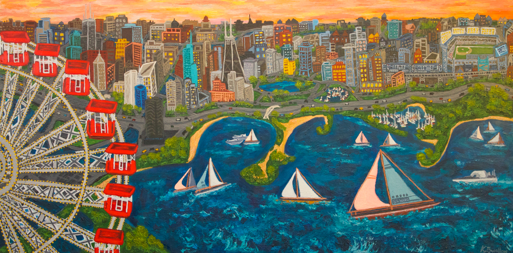 Chicago Lakefront Skyline, acrylic on panel, 30x60, 2012, SOLD (custom commission)