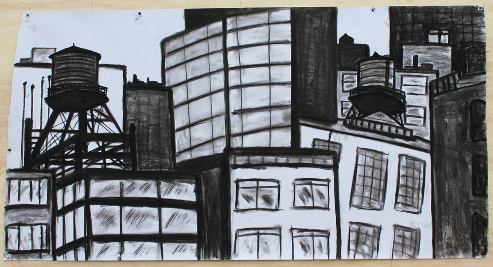 Wicker Park & Loop Mashup, charcoal on paper, 36X60, 2015, AVAILABLE