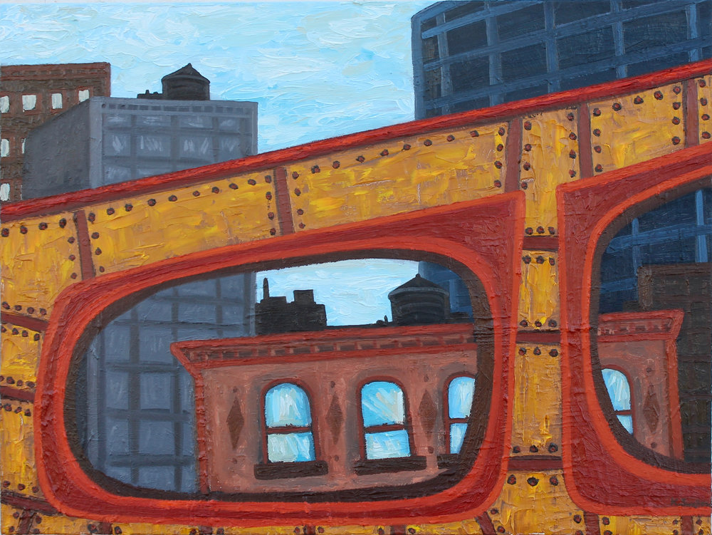 Wells St. Bridge, oil on canvas, 30x40, 2017, AVAILABLE