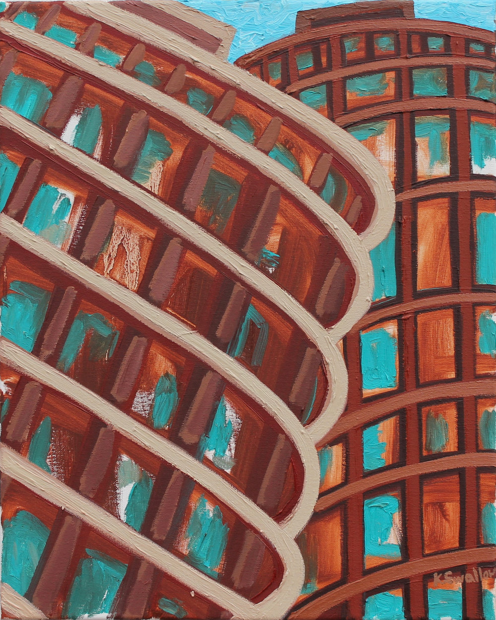 Marina Towers #1, oil on canvas, 20x16, 2017, AVAILABLE