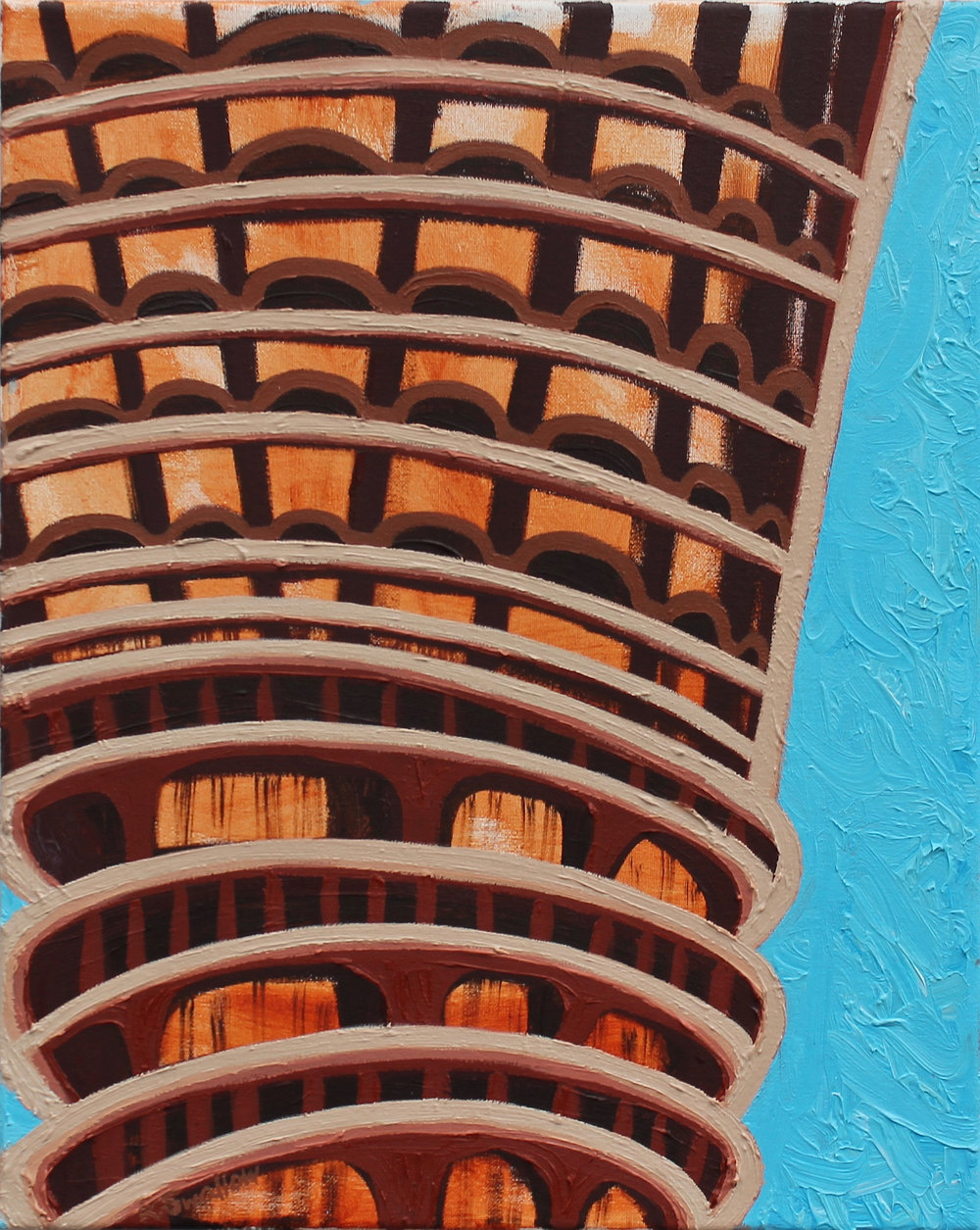 Marina Towers #2, oil on canvas, 20x16, 2017, AVAILABLE