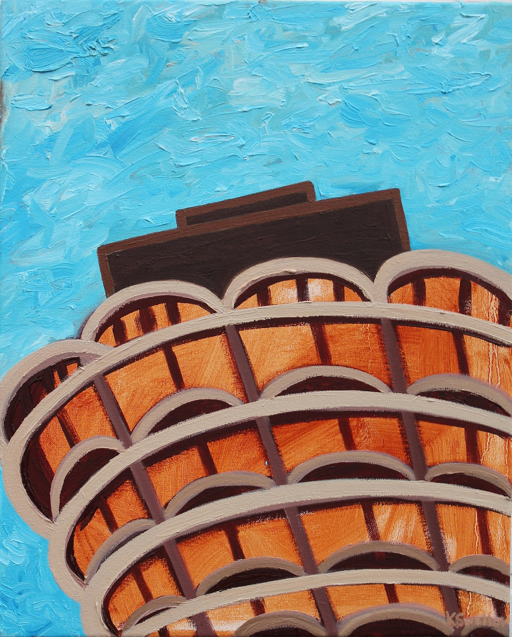 Marina Towers #4, oil on canvas, 20x16, 2017, AVAILABLE