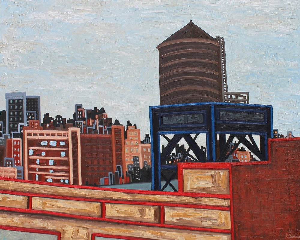 West Village Skyline - New York City, oil on canvas, 48X60, 2017
