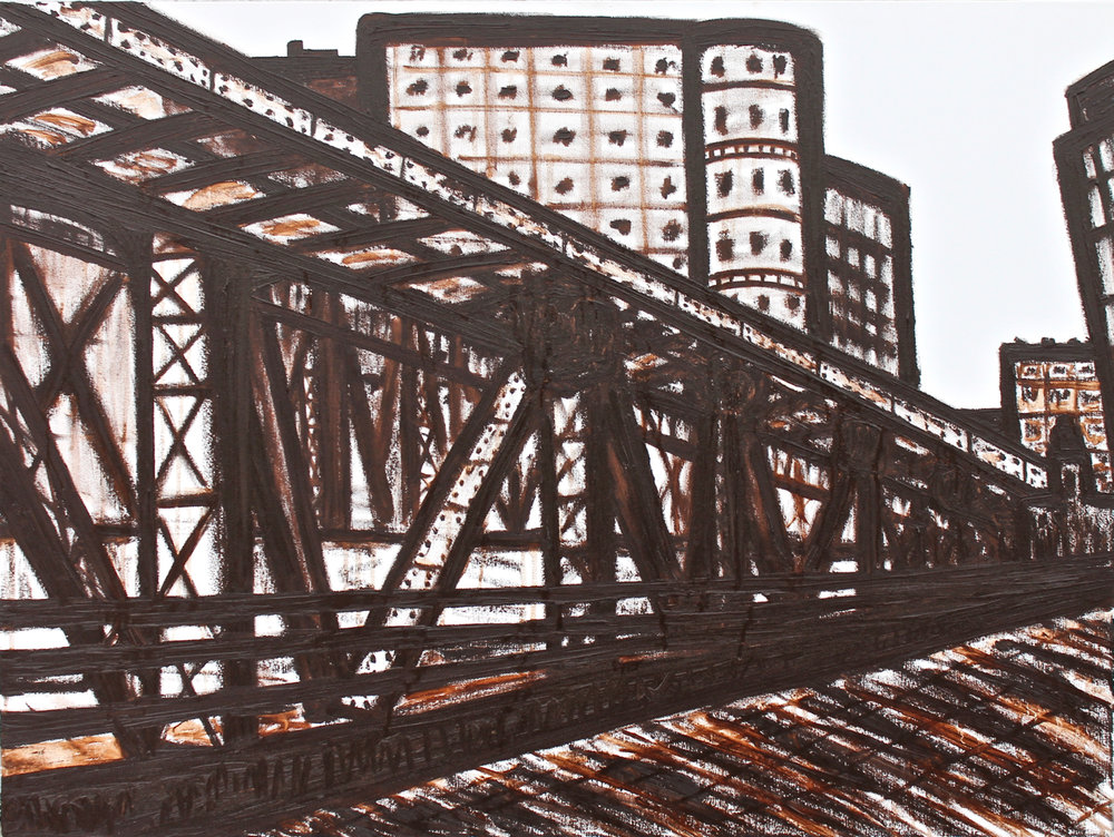 Wells St. Tracks, oil on canvas, 30x40, 2017, AVAILABLE
