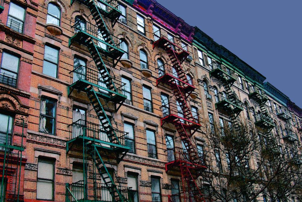 Rainbow Fire Escapes (New York), digitally enhanced photograph, 2009.jpg