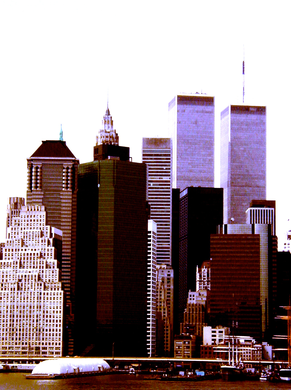 WTC (Brooklyn view), digitally enhanced photograph, 2001.jpg