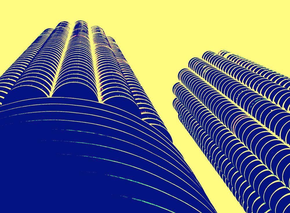 Marina Towers, digitally enhanced photograph, 2002.jpg