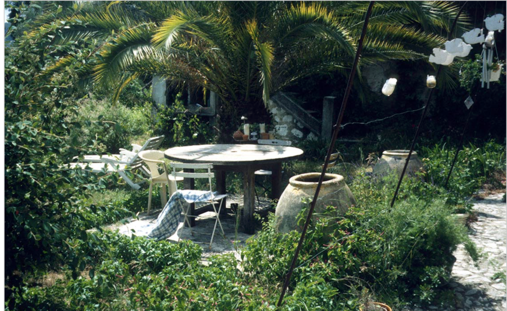 What was once the patio in front of James Baldwin's study in his house in Saint-Paul de Vence, with his writing/reading table. Photo courtesy of Magdalena J. Zaborowska from her wonderful book  Me and My House: James Baldwin's Last Decade in France  (no copyright infringement intended)