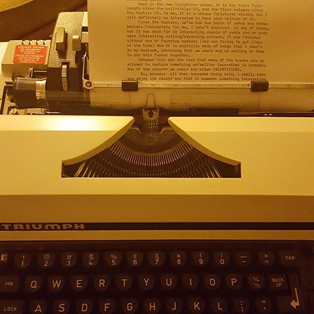 "New electric typewriter. Hums like an electric toothbrush, or  electric clippers, or other devices that begin with ""electric"". Sensitive keys...too sensitive, maybe. Made in Western Germany. The other Germany."