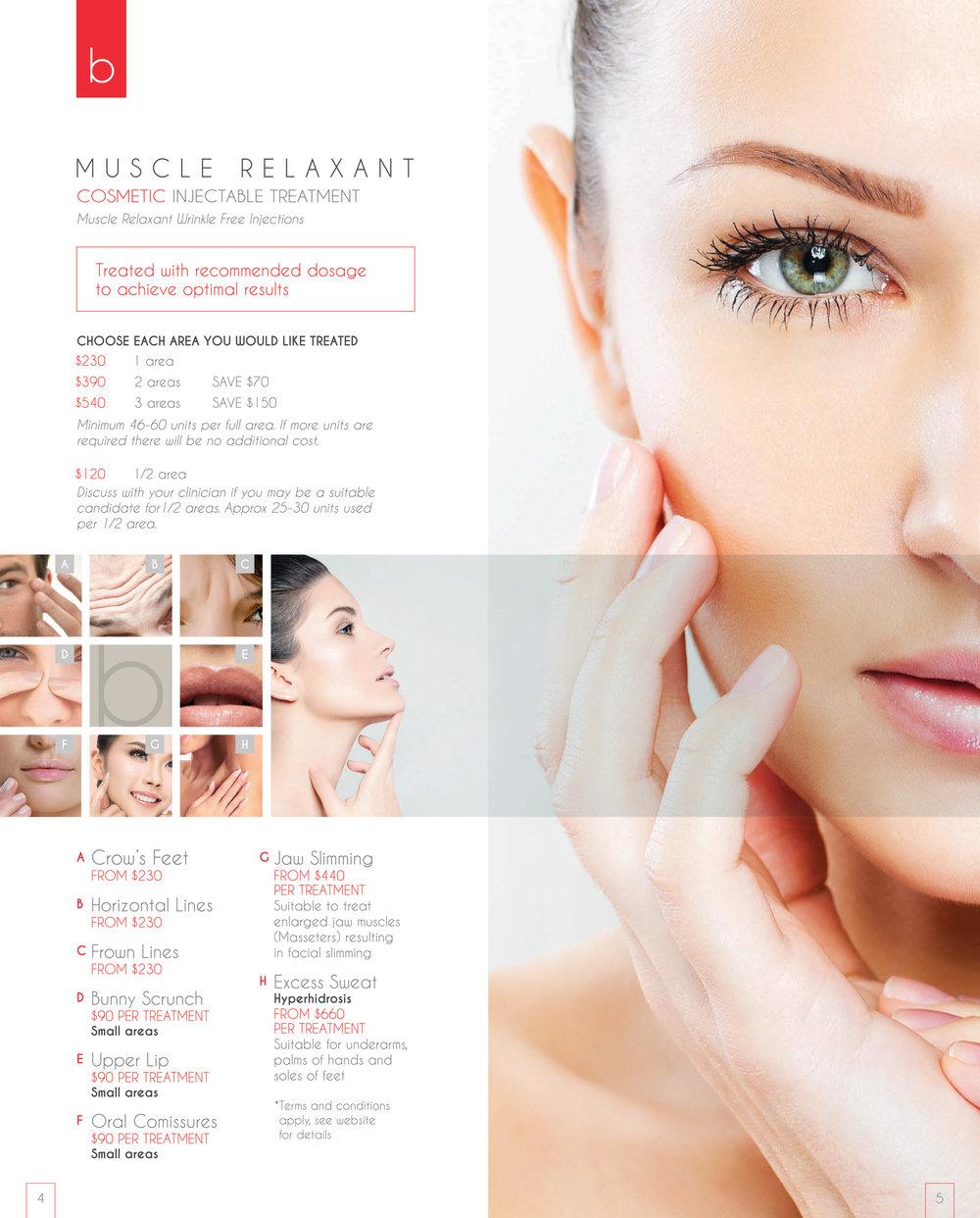 B Clinic Cosmetics Menu