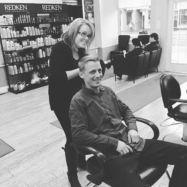 Our handsome Kyle getting a haircut from the fabulous Kate from @divinenapanee #doyleswindows #napanee #shoplocal