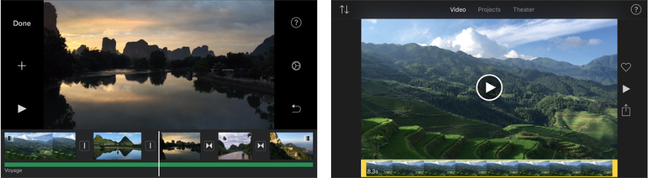 iMovie UI (screenshot from iTunes store)