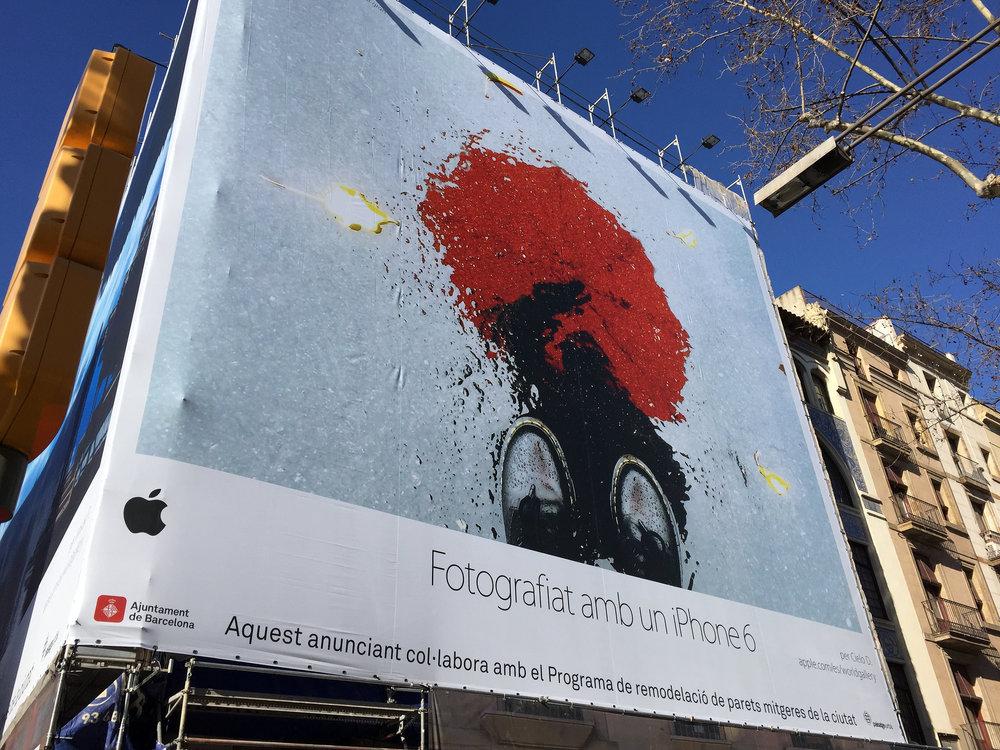 Shot on iPhone Billboard at Las Ramblas, Barcelona