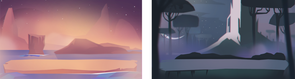 Background illustrations for Tiny Duels, 2015  iOS Game App