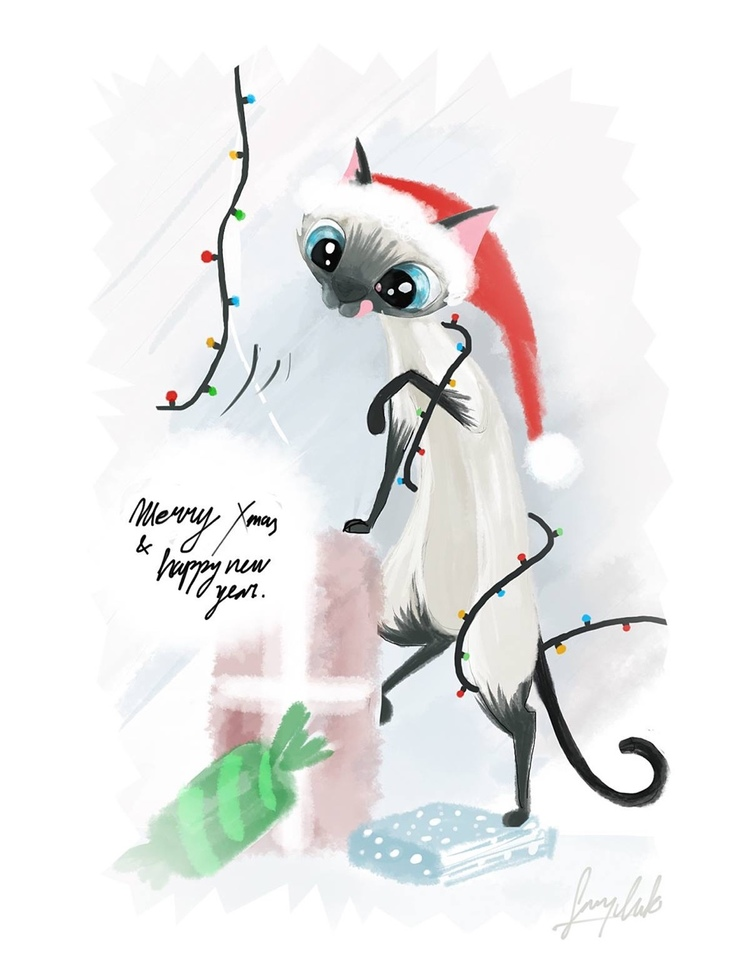 Johanna the cat Christmas Card design  Personal