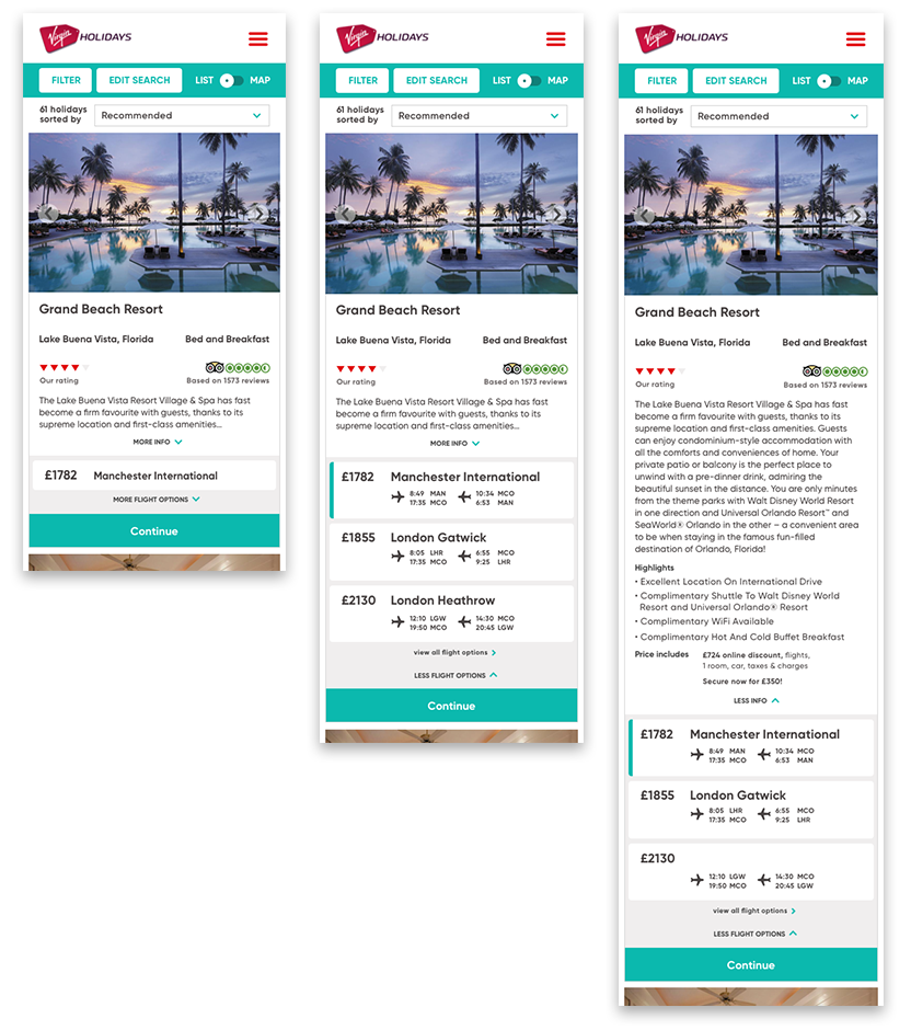 Virgin Holiday's mobile search refinement.     VIEW CASE STUDY >