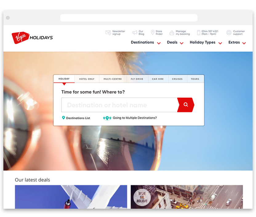 Virgin Holiday's search experience   VIEW CASE STUDY >