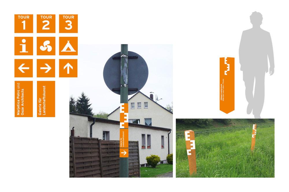 Modular kombinierbare Schilder für die Orientierung auf dem 47 km2 großen Ausstellungsareal