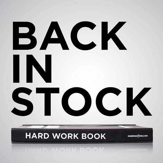 NEWS! A tiny initial shipment of Hard Work Books are back in stock! Available now at hundredmillion.co.uk, with more to follow in 2018 👊