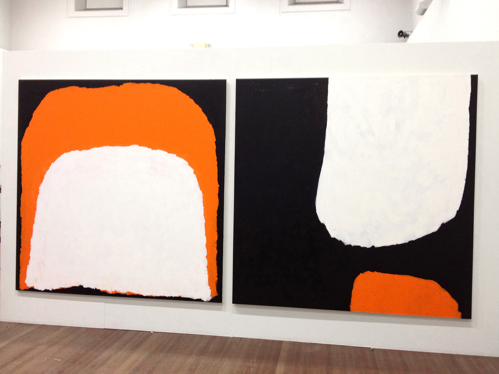 Black, White and Orange Painting, 2011 & Cadmium Orange Painting, 2012   Installation view, Sydney College of the Arts Galleries, acrylic on canvas, 2m x 2m, Collection of Artbank