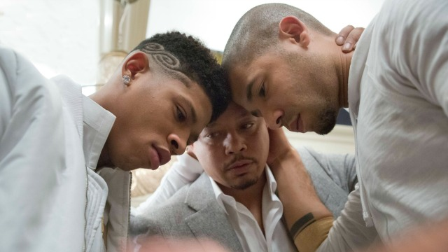 "EMPIRE: Lucious (Terrence Howard, C) has a moment with his sons Hakeem (Bryshere Gray, L) and Jamal (Jussie Smollett, R) in the ""Our Dancing Days"" episode airing Wednesday, Feb. 18 (9:01-10:00 PM ET/PT) on FOX. ©2014 Fox Broadcasting Co. CR: Chuck Hodes/FOX"
